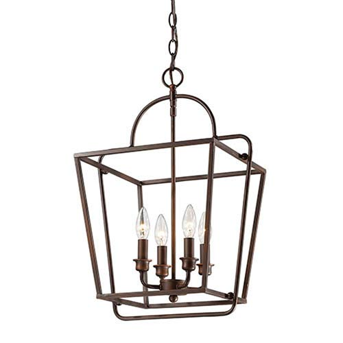 Rubbed Bronze Four-Light Lantern Pendant