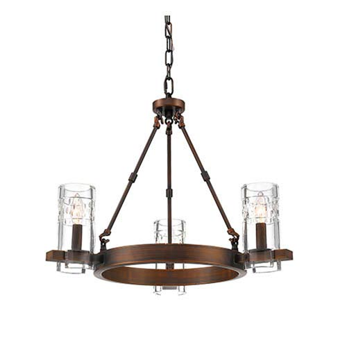 Tulsa Rubbed Bronze Three-Light Chandelier