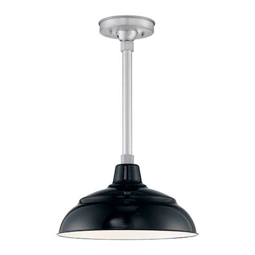 Millennium Lighting R Series Black Porcelain 14-Inch One-Light Outdoor Warehouse Shade Only