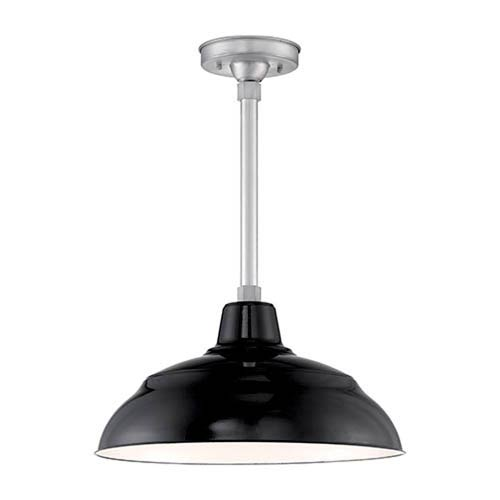 Millennium Lighting R Series Black Porcelain 17-Inch One-Light Outdoor Warehouse Shade Only