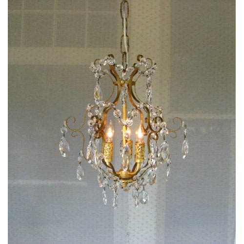 Gabriella Gold Leaf Three-Light Mini Chandelier