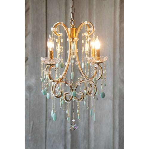 Hannah Antique Gold Four-Light Mini Chandelier