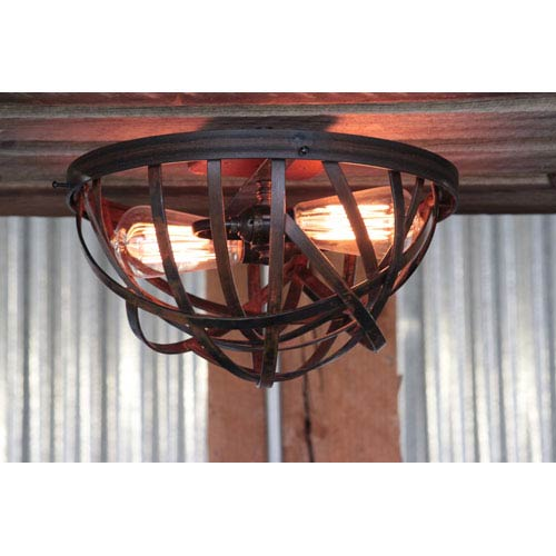 Spin Rustic Two-Light Flush Mount