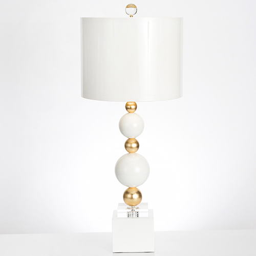 Sheridan High Gloss White and Gold Leaf One-Light Table Lamp