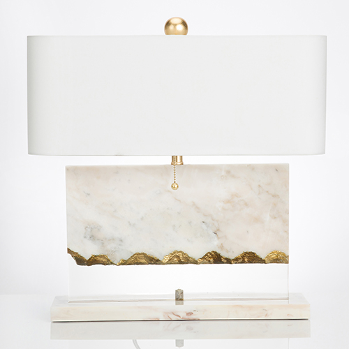 Brentwood White Marble and Gold Leaf One-Light Table Lamp