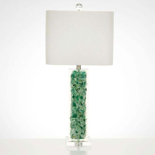 Green Glass One-Light Table Lamp