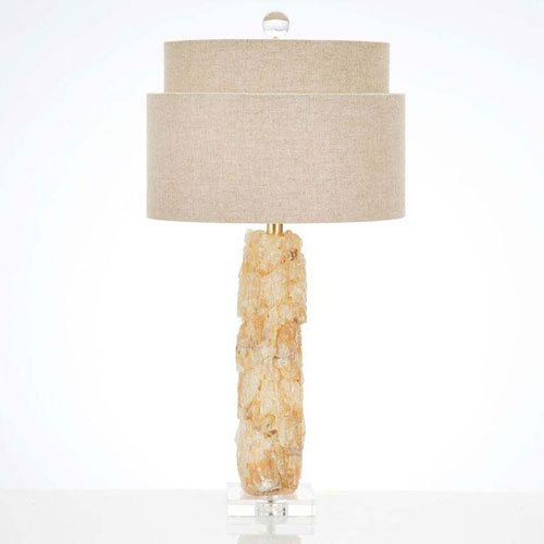 Yellow Quartz and Optic Crystal One-Light Table Lamp