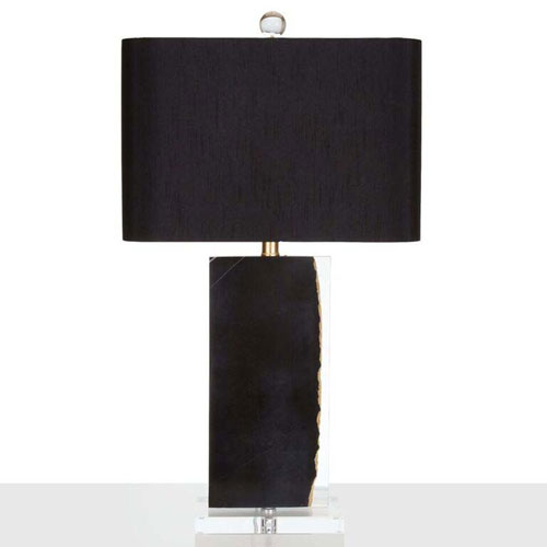 Black Marble and Gold Leaf One-Light Table Lamp with Black Silk Shade