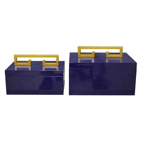 Set of 2 Graphic Appeal High Gloss Indigo Decorative Boxes