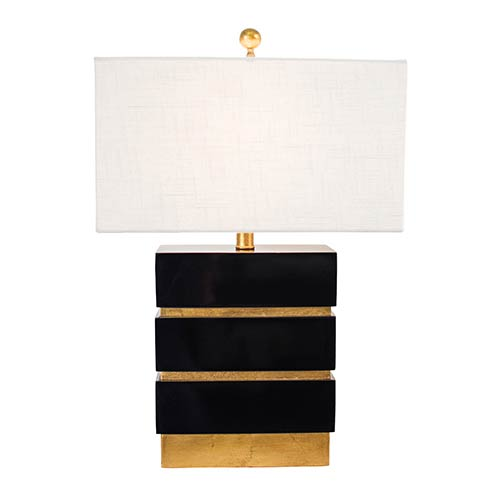 Couture Golden Glamour Gloss Black 24-Inch High San Simeon Table Lamp