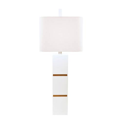 Couture Graphic Appeal Glossy White Lacquer One Light Table Lamp