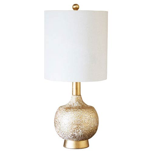 Golden Glamour Gold and White Cracked Eggshell 5-Inch Atwater Table Lamp