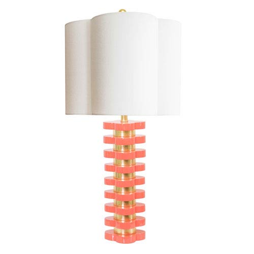 Couture Golden Glamour High Gloss Coral 6-Inch Quatrefoil Lamp