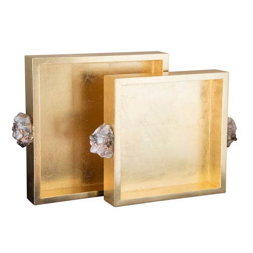 Golden Glamour Gold Leaf Astoria Quartz Square Trays, Set of 2