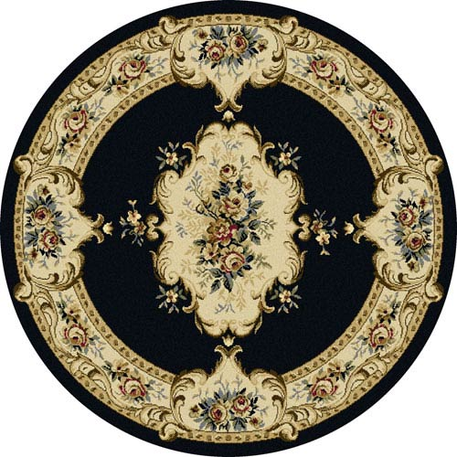 Laguna Charcoal Floral Round: 5 Ft 3 In Rug