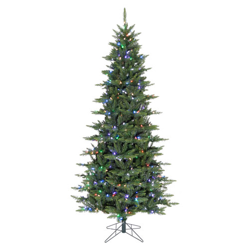 Green 7.5 Feet x 46-Inch Camdon Fir Slim LED Artificial Christmas Tree with 504 RGB Color