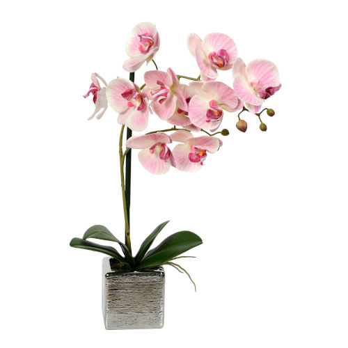 Pink Real Touch Phalaenopsis in Metal Pot
