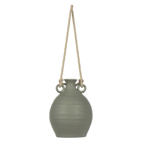 Gray Terracotta Bottle Rope Handle Container