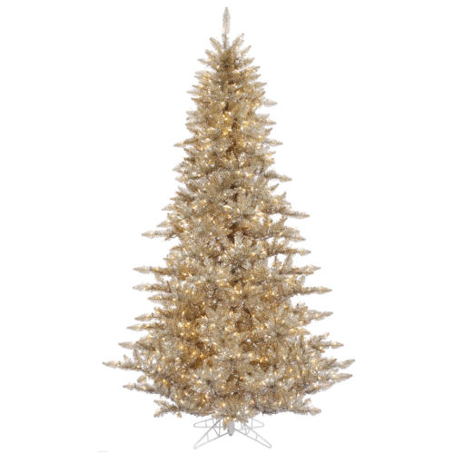 Champagne Fir Yellow Artificial Pre-lit Tree with 1634 PVC Tip