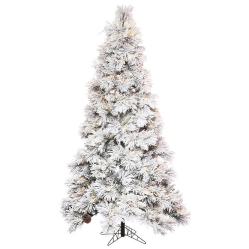 Flocked Atka Pine Green Artificial Pre-lit Tree