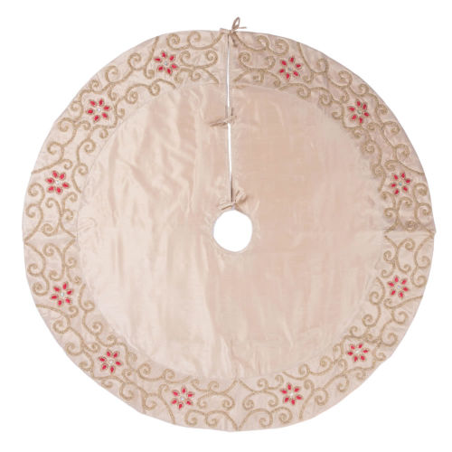 Regal Yellow 60-Inch Tree Skirt with Exquisite champagne Polysilk Dupioni Fabric