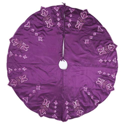 Romance Purple 60-Inch Tree Skirt with Elegant Polysilk Dupioni Fabric