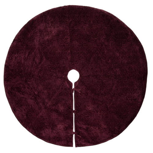 Christmas Eve Purple 60-Inch Tree Skirt with Luxurious Cotton Velvet Fabric