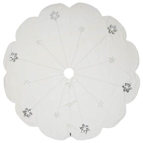 Silver Flakes White 60-Inch Tree Skirt with Elegant And Plush White Cotton Velvet