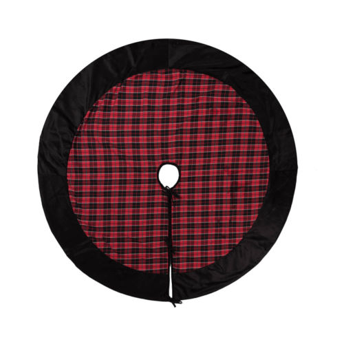 MacKenzie Red 60-Inch Tree Skirt with Traditional Holiday Plaid