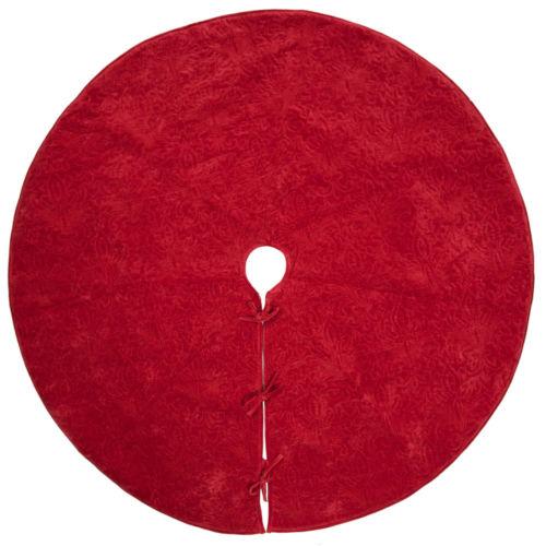 Christmas Eve Red 60-Inch Tree Skirt with Elegant Cotton Velvet