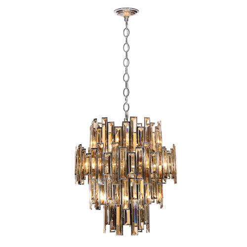 Eurofase Lighting Vienna Chrome 12-Light Chandelier with Champagne Crystal
