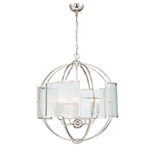 Eurofase Lighting Manilow Polished Nickel 25.5-Inch 8-Light Chandelier