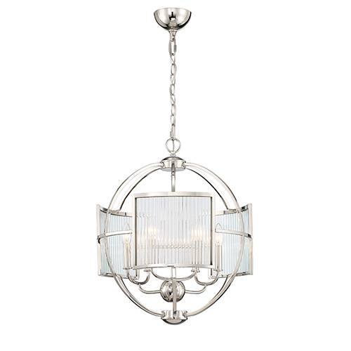 Manilow Polished Nickel 19-Inch 6-Light Chandelier
