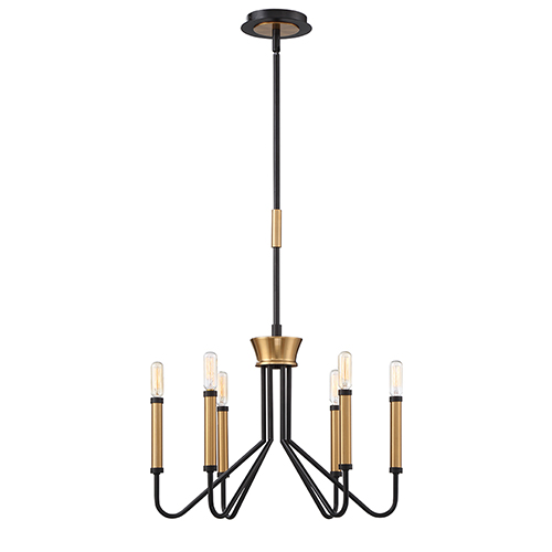 Rado Black 19-Inch 6-Light Chandelier