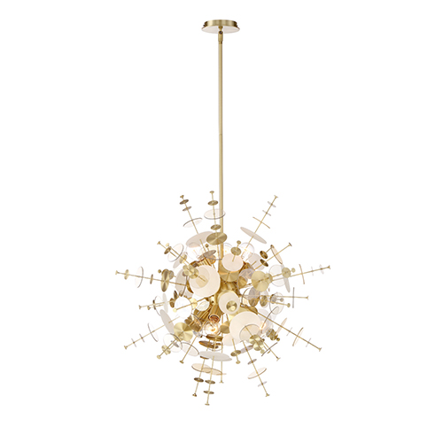 Bonazzi Brass 29-Inch 9-Light Chandelier