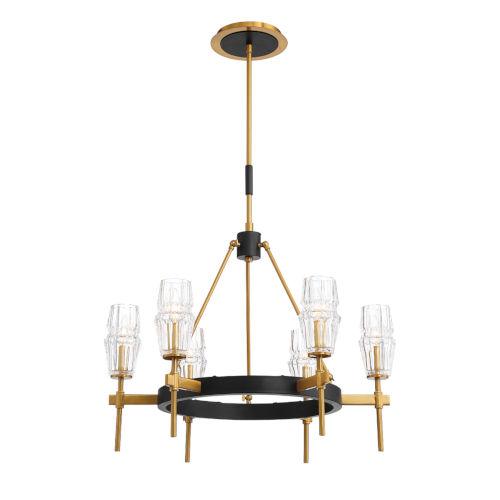 Gladstone Antique Brass and Black Six-Light Chandelier