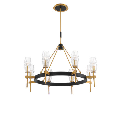 Gladstone Antique Brass and Black Eight-Light Chandelier