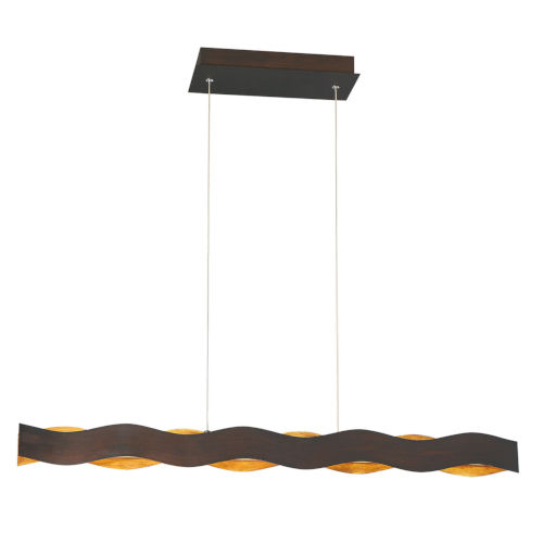 Ripple Bronze and Gold One-Light 37-Inch LED Chandelier