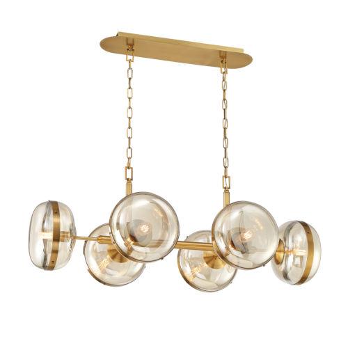 Nottingham Ancient Brass Six-Light Oval Chandelier