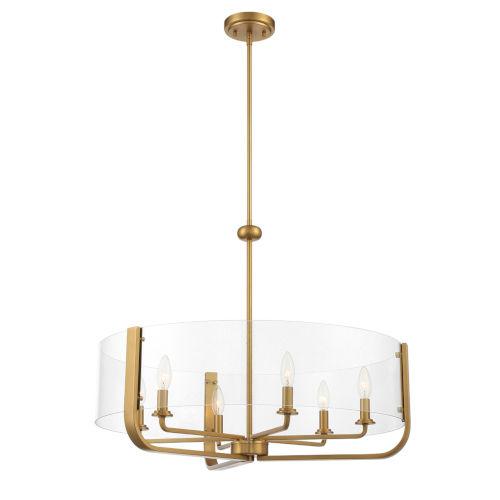 Campisi Brass Six-Light Chandelier