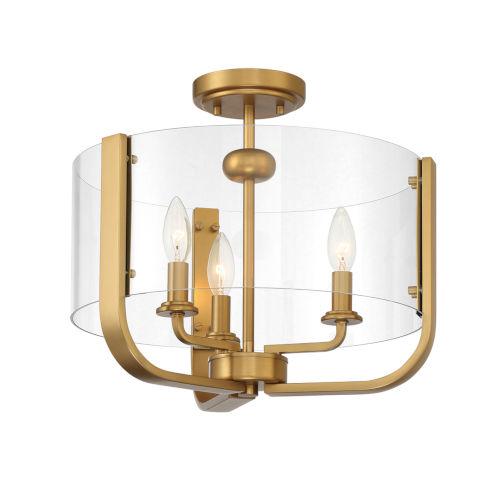 Campisi Brass Three-Light Flush Mount