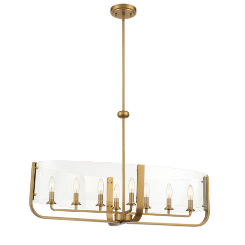 Campisi Brass Eight-Light Oval Chandelier