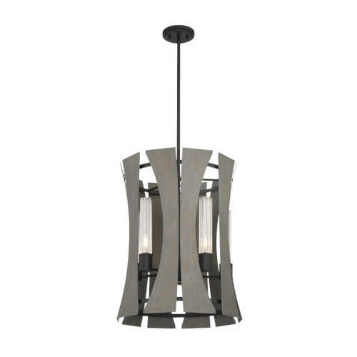 Pennino Matte Black and Gray Five-Light LED Chandelier