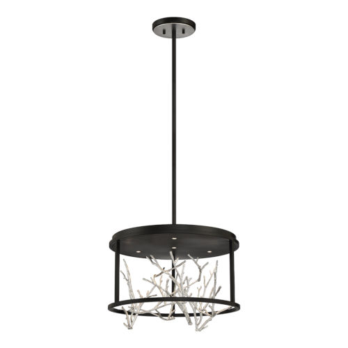 Aerie Black and Silver Four-Light Round LED Chandelier
