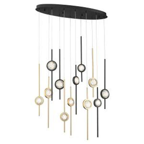 Barletta Black and Brass Anodized Aluminum 12-Light LED Chandelier