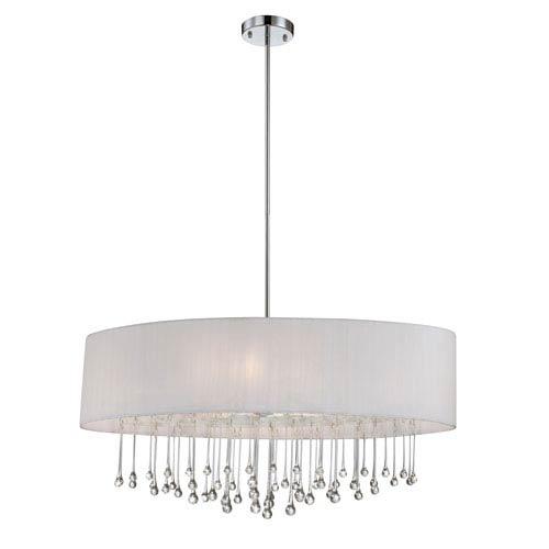 Eurofase Lighting Penchant Chrome / White Six Light Oval Pendant with White Fabric Shade