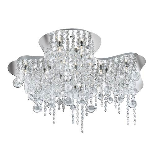 Alissa Chrome and Crystal Eighteen-Light Flush Mount