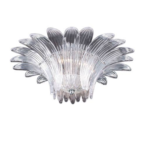 Eurofase Lighting Fiore Clear Three Light Convertible Flushmount with Clear Shade
