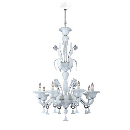 Veronica White Eight Light Chandelier