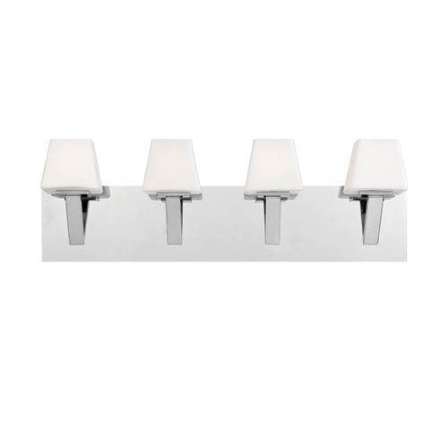Eurofase Lighting Anglo Chrome Four Light Bath Fixture with White Shade